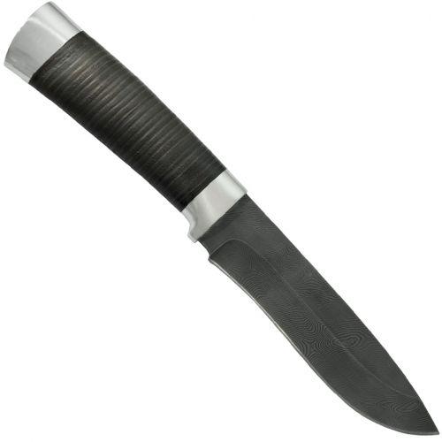 Нож охотничий, туристический «Александр II» Н6, сталь черный дамаск (У10А-7ХНМ), рукоять: дюраль, кожа
