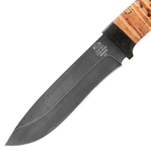 Нож охотничий, туристический «Александр II» Н6, сталь черный дамаск (У10А-7ХНМ), рукоять: текстолит, береста