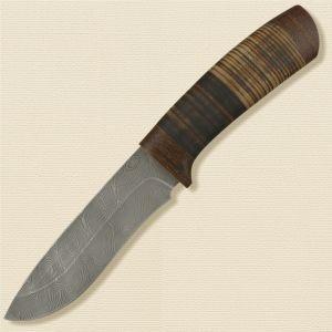 Нож охотничий, туристический «Александр II» Н6, сталь нержавеющий дамаск (40Х13-Х12МФ1), рукоять: текстолит, кожа наборная