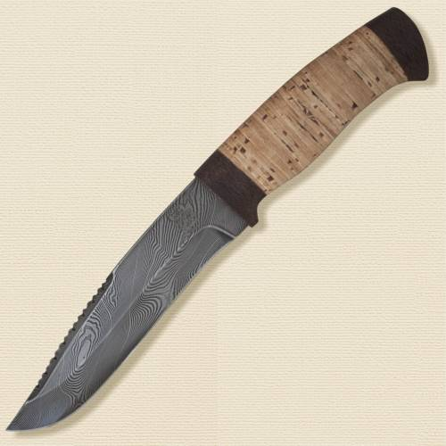 Нож охотничий, туристический «Каскадёр» Н64, сталь черный дамаск (У10А-7ХНМ), рукоять: текстолит, береста наборная