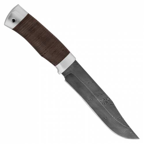 Нож охотничий, туристический «Спасатель» Н7,  сталь черный дамаск (У10А-7ХНМ), рукоять: дюраль, кожа наборная