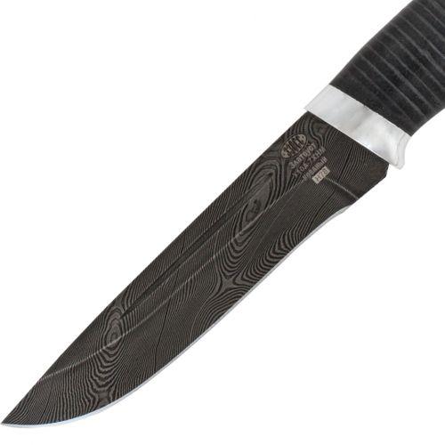 Нож охотничий, туристический «Викинг» Н78, сталь черный дамаск (У10А-7ХНМ), рукоять: дюраль, кожа
