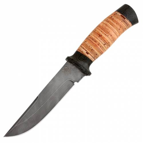 Нож охотничий, туристический «Лондон - спецназ», cталь: нержавеющий дамаск (40Х13-Х12МФ1), рукоять: текстолит, береста