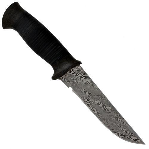 Нож охотничий, туристический «Лондон - спецназ» Н8, сталь контрастный дамаск (65Г-Х12МФ1), рукоять: кожа, текстолит