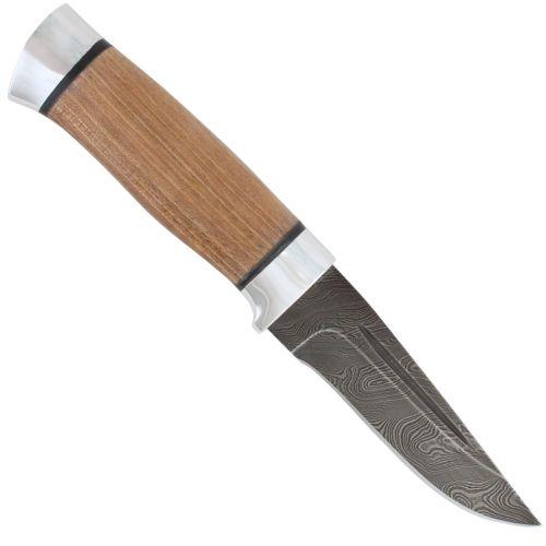 Нож охотничий, туристический «Гусар» Н80, сталь черный дамаск (У10А-7ХНМ), рукоять: дюраль, орех