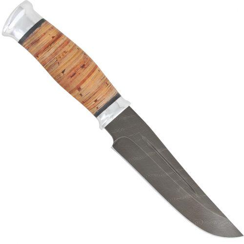 Нож охотничий, туристический «Сибиряк» Н81, сталь черный дамаск (У10А-7ХНМ), рукоять: дюраль, береста