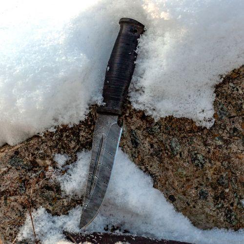 Нож охотничий, туристический «Сибиряк» Н81, сталь черный дамаск (У10А-7ХНМ), рукоять: текстолит, кожа