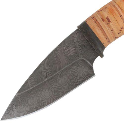 Нож охотничий, туристический «Варяг» Н84, сталь черный дамаск (У10А-7ХНМ), рукоять: текстолит, береста