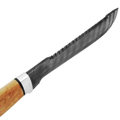 Нож «Пиранья» Н89, сталь черный дамаск (У10А-7ХНМ), рукоять: дюраль, орех