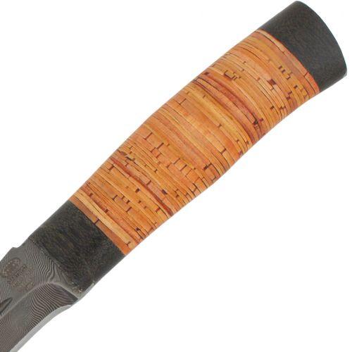 Нож охотничий, туристический «Тактик» Н91, сталь черный дамаск (У10А-7ХНМ), рукоять: текстолит, береста