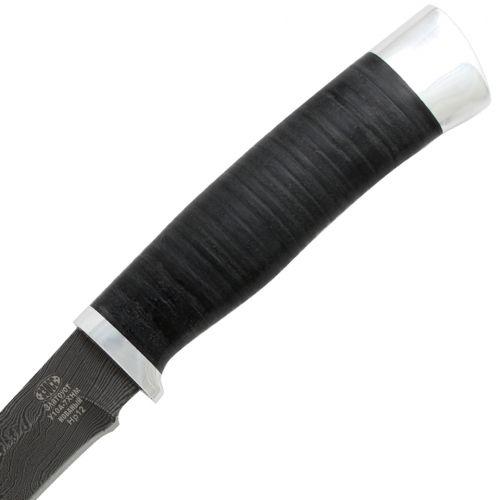 Нож охотничий, туристический «Батыр» НР12, сталь черный дамаск (У10А-7ХНМ), рукоять: дюраль, кожа