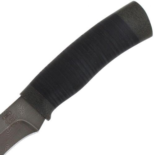 Нож охотничий, туристический «Егерь» Н16, сталь черный дамаск (У10А-7ХНМ), рукоять: текстолит, кожа