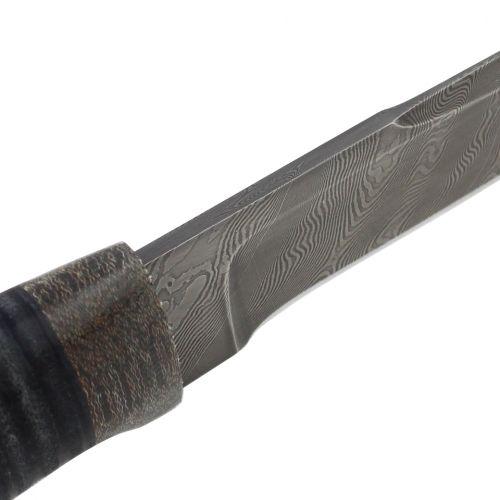 Нож охотничий, туристический «Полярник» НР2, сталь: черный дамаск (У10А-7ХНМ), рукоять: текстолит, кожа