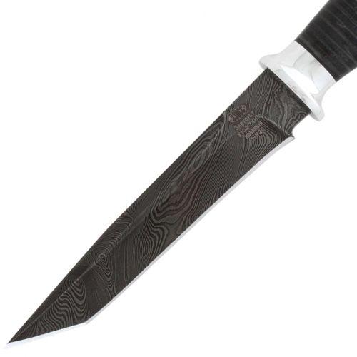 Нож охотничий, туристический «Командор» Н20, сталь: черный дамаск (У10А-7ХНМ), рукоять: дюраль, кожа