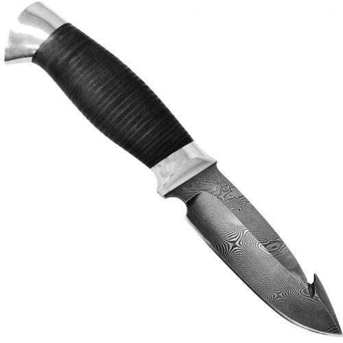 Нож охотничий, туристический «Рыболов» НР21, сталь черный дамаск (У10А-7ХНМ), рукоять: дюраль, кожа