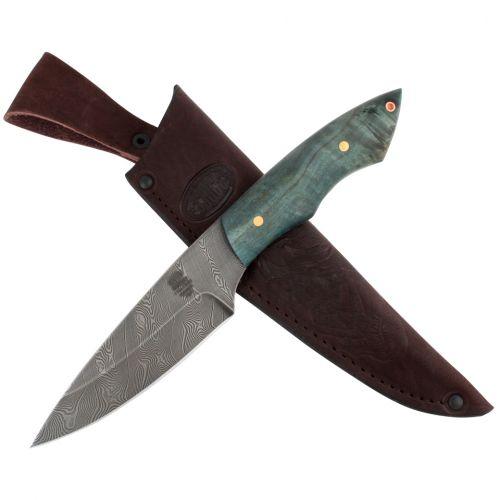 Нож охотничий, туристический «Витязь» НР5, сталь черный дамаск (У10А-7ХНМ), рукоять: карельская береза стабилизированная