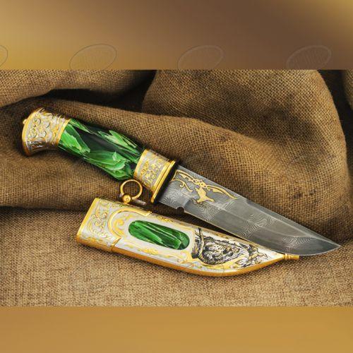 Нож украшенный «Осенняя охота» Н8, сталь черный дамаск (У10А-7ХНМ), рукоять: никель, золото, смола, рисованный клинок