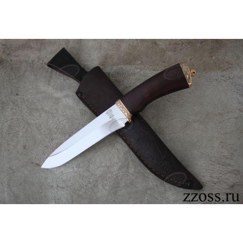 Нож подарочный «Бравый мичман» Н1Т-П, сталь ЭИ-107, рукоять: золото, орех мореный, резные гарда и тыльник, рисованный клинок в золоте