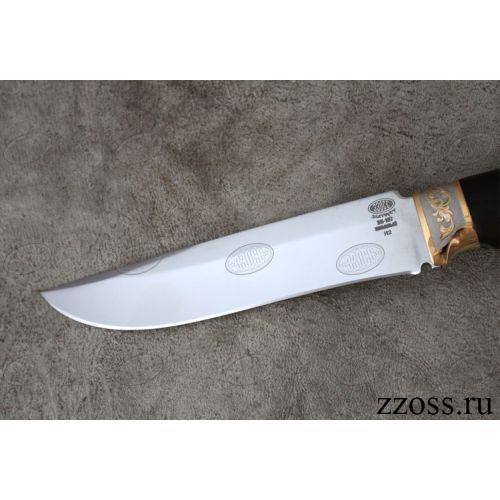 Нож «Турецкий гамбит» Н2-П, сталь ЭИ-107, рукоять: золото, орех мореный, резная гарда и тыльник, рисованный клинок в золоте