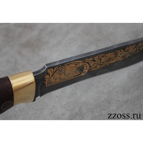 Нож «Турецкий гамбит» Н2-П, сталь черный дамаск (У10А-7ХНМ), рукоять: золото, орех морёный, рисованный клинок в золоте