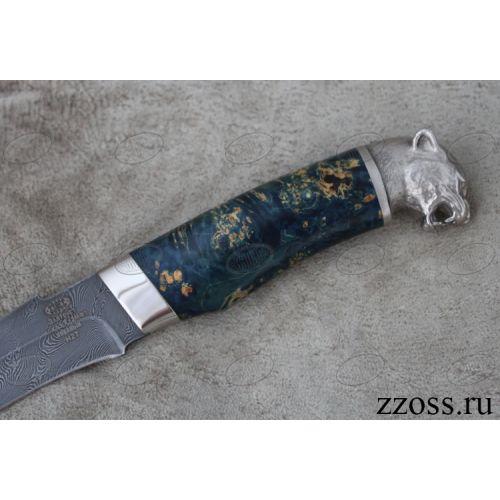 Нож «Баскардия» Н27-Л, сталь нержавеющий дамаск (40Х13-Х12МФ1), рукоять: никель, стабилизированная береза, литье