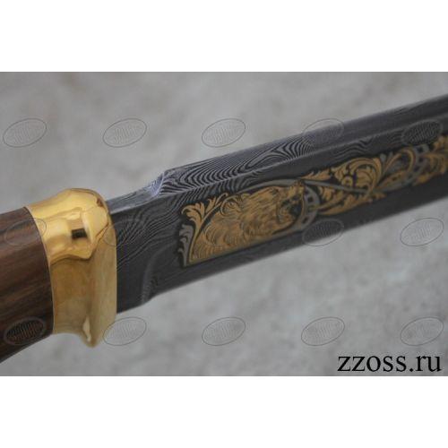 Нож «Немецкий барон» Н3-Л, сталь черный дамаск (У10А-7ХНМ), рукоять: золото, орех морёный, литье, рисованный клинок в золоте