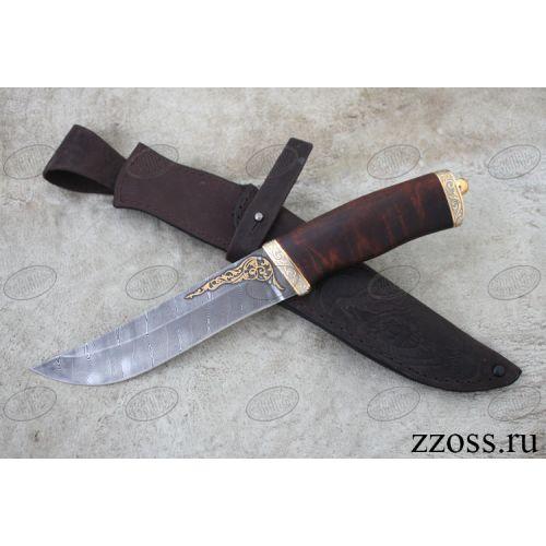 Нож «Таганайский лесник» Н5-P, сталь черный дамаск (У10А-7ХНМ), рукоять: золото, орех морёный, резная гарда и тыльник, рисованный клинок в золоте