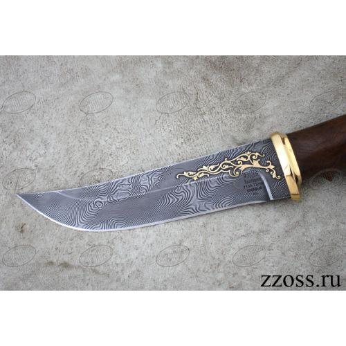 Нож «Лесной рейнджер» Н5-Л, сталь черный дамаск (У10А-7ХНМ), рукоять: золото, орех морёный, литьё, рисованный клинок в золоте