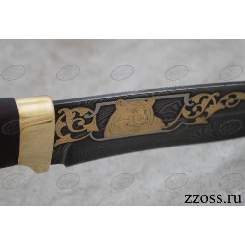 Нож «Александр II» Н6-П, сталь черный дамаск (У10А-7ХНМ), рукоять: золото, орех мореный, рисованный клинок в золоте
