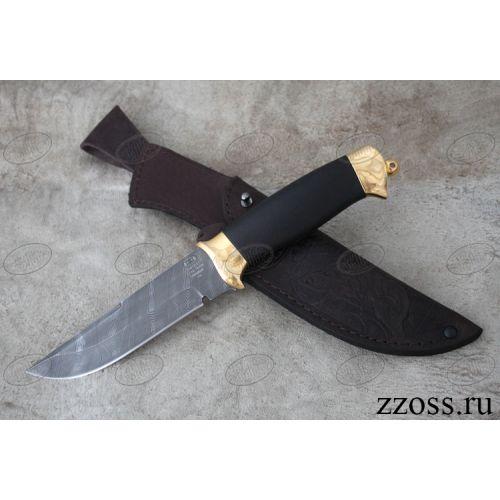 Нож «Королевский Лондон» Н8-П, сталь черный дамаск (У10А-7ХНМ), рукоять: золото, орех мореный, рисованный клинок в золоте