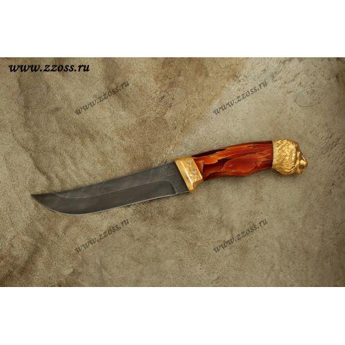 Нож «Лесной рейнджер» Н5-Л, сталь черный дамаск (У10А-7ХНМ), рукоять: золото, смола, резная гарда, литьё, рисованный клинок в золоте