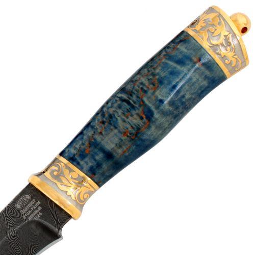 Нож подарочный «Царский ефрейтор» Н24-П, сталь черный дамаск (У10А-7ХНМ), рукоять: золото, стабилизированная береза, резная гарда и тыльник, рисованный клинок в золоте