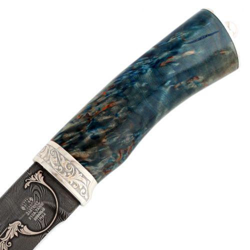 Нож Н64, сталь: черный дамаск (У10А-7ХНМ), Медведь, гарда: никель, рукоять: береза стаб. синезеленая