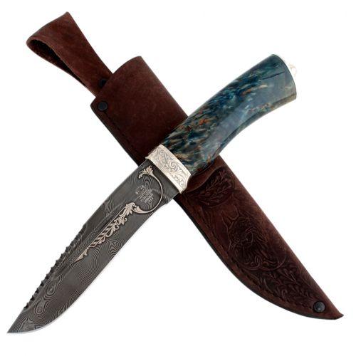 Нож «Каскадёр»  Н64, сталь: черный дамаск (У10А-7ХНМ), гарда: никель, рукоять: береза синезеленая