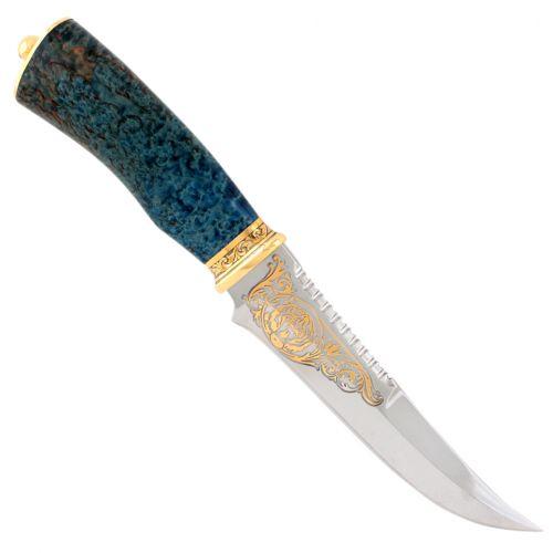 Нож «Морской патруль» Н69-П, сталь: ЭИ-107, рукоять: береза стабилизированная, золото