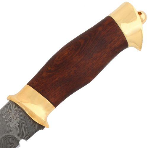 Нож «Королевский Лондон» Н8-П, сталь: черный дамаск (У10А-7ХНМ), золото, рукоять: орех