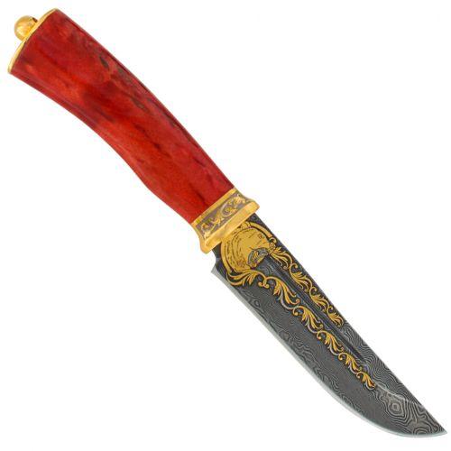 Нож «Кабальеро» Н90-П, сталь черный дамаск (У10А-7ХНМ), рукоять: золото, стабилизированная береза, резная гарда, рисованный клинок в золоте