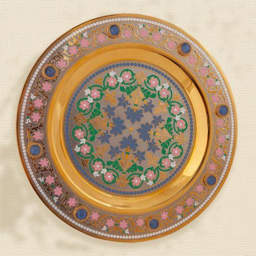 Набор водочный на 4 персоны, никель, золото, эмалирование, кабошоны