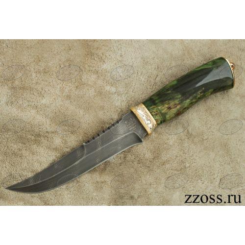 Нож «Морской патруль» Н69-П, сталь черный дамаск (У10А-7ХНМ), рукоять: золото, стабилизированная береза, резная гарда, рисованный клинок в золоте