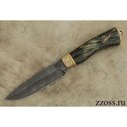 Нож охотничий, туристический «Милорд» НР3, сталь черный дамаск (У10А-7ХНМ), рукоять: золото, стабилизированная береза, резная гарда, рисованный клинок в золоте
