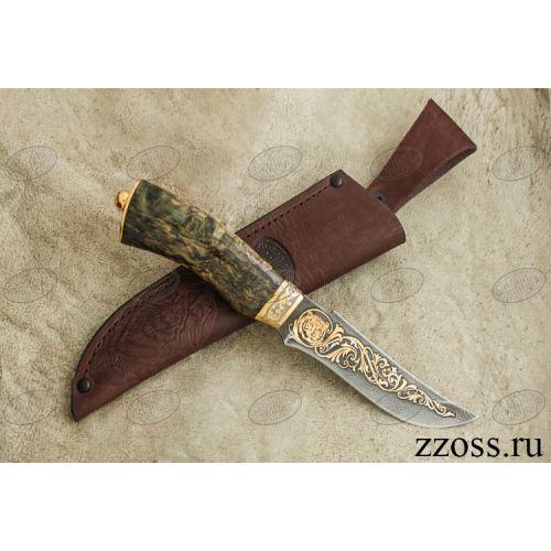 Нож «Башкорт» Н27-П, сталь черный дамаск (У10А-7ХНМ), рукоять: золото, стабилизированная береза, резная гарда, рисованный клинок в золоте