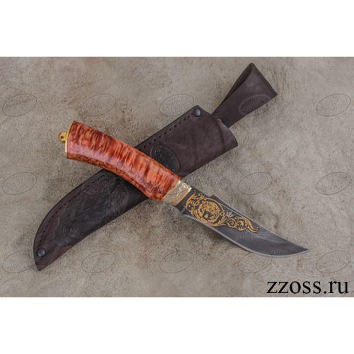Нож «Башкорт» Н27-П, сталь черный дамаск (У10А-7ХНМ), рукоять: золото, стабилизированная береза, резная гарда, рисованный клинок в золоте с тигром