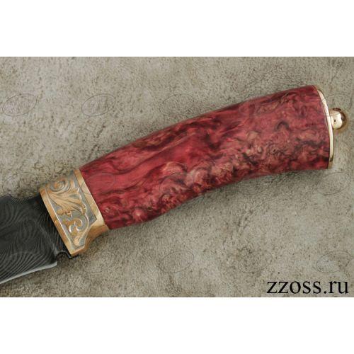 Нож «Турецкий гамбит» Н2-П, сталь черный дамаск (У10А-7ХНМ), рукоять: золото, стабилизированная береза, резная гарда, рисованный клинок в золоте