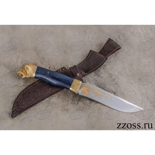 Нож «Турецкий султан» Н2-Л, сталь ЭИ-107, рукоять: золото, стабилизированная береза, литьё, рисованный клинок в золоте