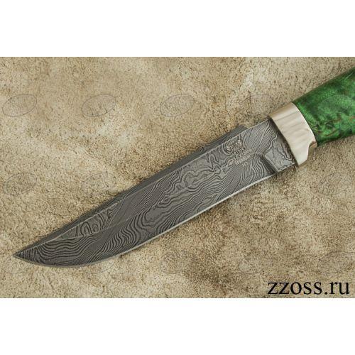 Нож «Гумбольдт уральский» Н3-П, сталь нержавеющий дамаск (40Х13-Х12МФ1), рукоять: никель, стабилизированная береза