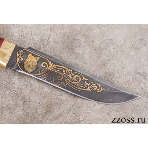 Нож «Немецкий барон» Н3-Л, сталь черный дамаск (У10А-7ХНМ), рукоять: золото, стабилизированная береза, литьё, рисованный клинок в золоте