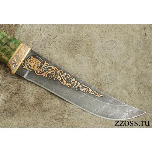 Нож «Таганайский лесник» Н5-П, сталь черный дамаск (У10А-7ХНМ), рукоять: золото, стабилизированная береза, резная гарда, рисованный клинок в золоте