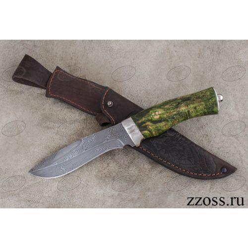 Нож «Таёжник» Н63-П, сталь нержавеющий дамаск (40Х13-Х12МФ1), рукоять: никель, стабилизированная береза