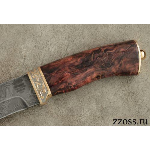 Нож «Каскадёр» Н64-П, сталь черный дамаск (У10А-7ХНМ), рукоять: золото, стабилизированная береза, резная гарда, рисованный клинок в золоте