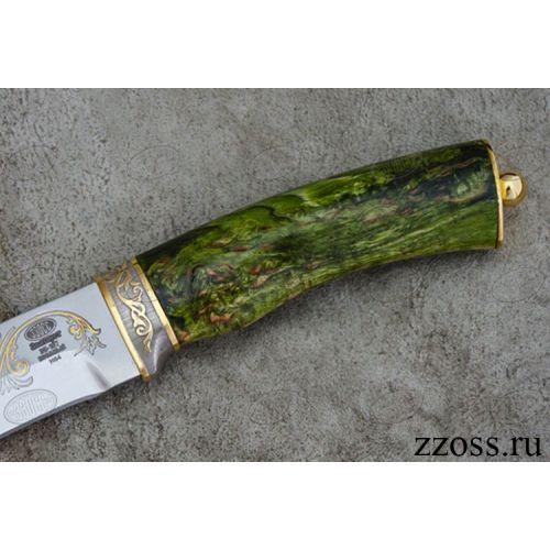 Нож «Каскадёр» Н64-П, сталь ЭИ-107, рукоять: золото, стабилизированная береза, резная гарда, рисованный клинок в золоте